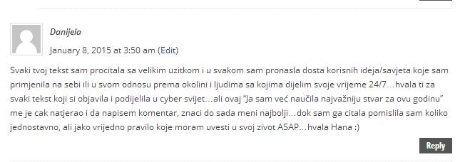 Ja sam već naučila najvažniju stvar za ovu godinu Cyber Bosanka2
