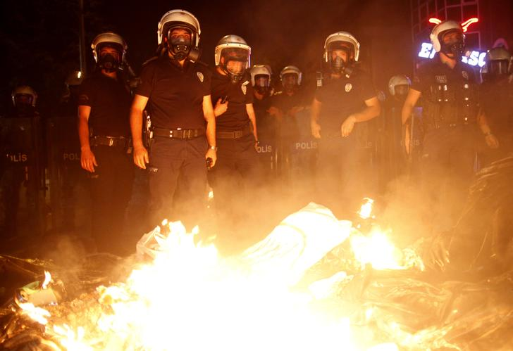 Riot police officers gather in central Ankara