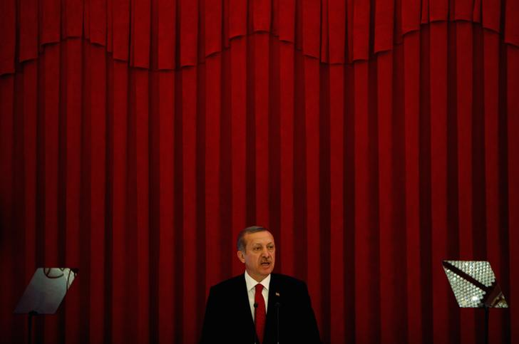 Turkey Prime Minister Tayyip Erdogan speaks during a conference in Ankara