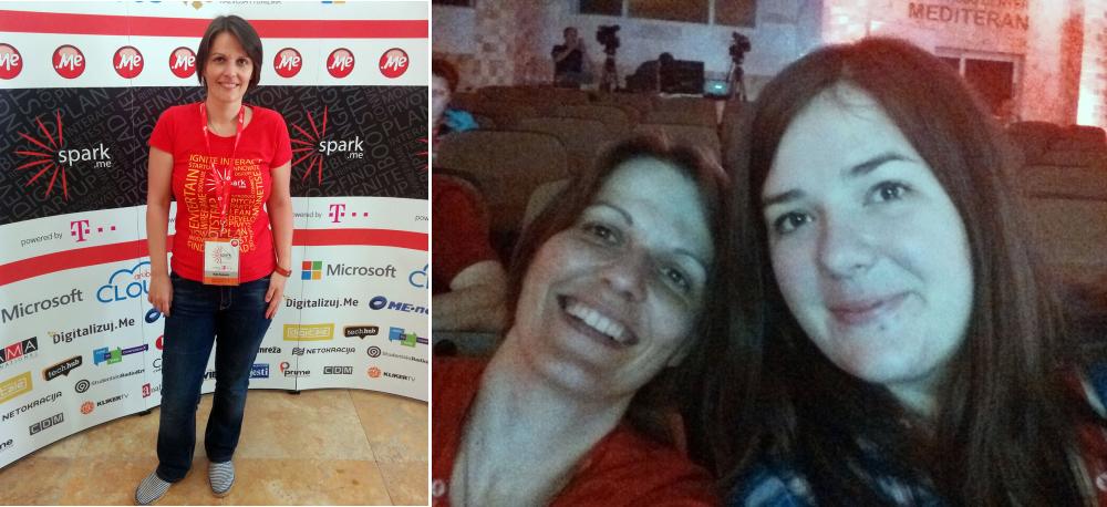 Ja ispred panoa za fotkanje i selfie prije početka konferencije sa cimerkom Jelenom :)