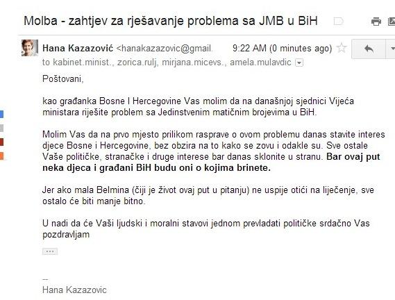 mail Vijecu ministara