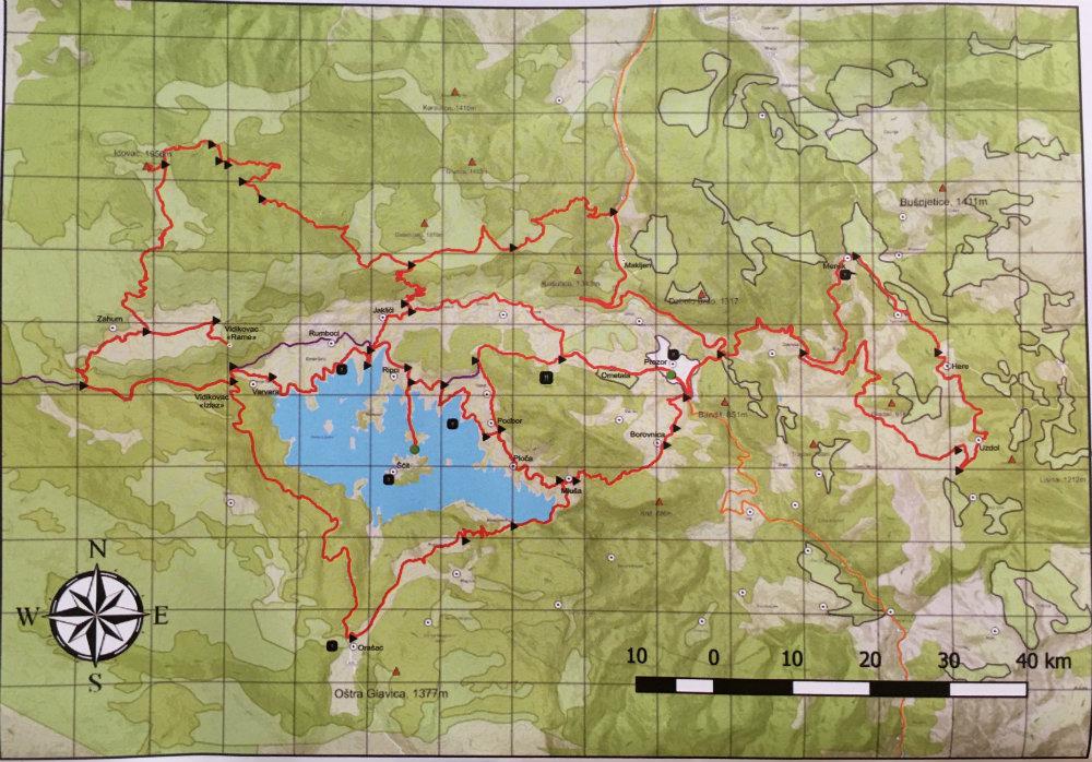 Prikaz biciklističkih ruta na području Prozor-Rame